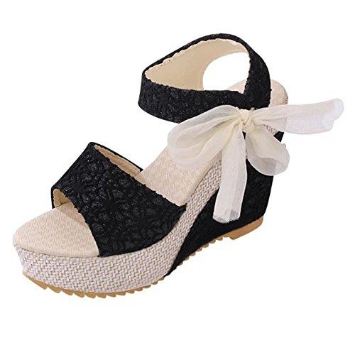 Scarpe Toe Peep Minetom Elegante Piattaforme Infradito Sandali Compensati Sole Pantofole Alto Nere Infradito Donna Tacco q0ZZxSY8