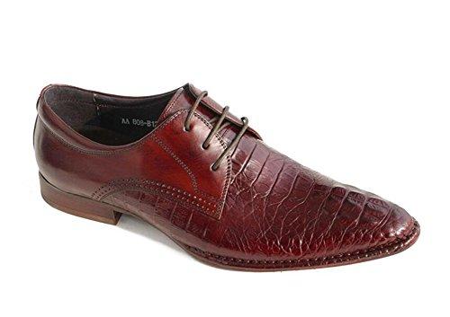 GLSHI Uomini Oxford 2017 Nuovo modello del coccodrillo del cappotto di cuoio dei pattini di cuoio indicati Brown