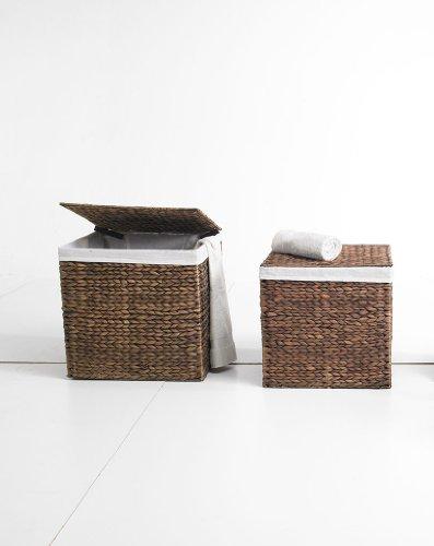 Artra Körbe, Behälter, Truhen 2er Set M braun, aus Wasserhyazinthe,36x36x36, quadratisch Wäschebehälter Wäschetruhe Aufbewahrungsbox mit Deckel Aufbewahrungskiste Aufbewahrungstruhe Wäschetruhe