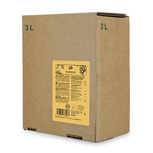 KoRo - Bio Cranberry Saft Bag-in-Box 3 l - 100{607e73a2b2b70ff3845e7de2977c8ffabf022b1c356cb4c9eb8d83d76cda1a09} Direktsaft aus bio Cranberries, ohne Zuckerzusatz, in der Vorteilspackung