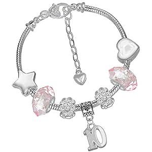 Armband Mit Anhängern Zum 10. Geburtstag, Für Mädchen, inkl. Einhorn-Geburtstagskarte Und Geschenkschachtel-Set