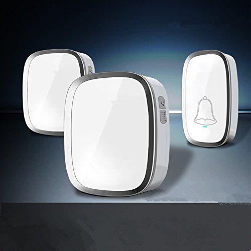 Campanello Senza Fili Impermeabile, Wireless Doorbell Con Raggio d'Azione 300m, Indicatore LED, 1 Trasmettitore Pulsante e 2 Ricevitori Con Spina Incorporata Senza Batteria, 36 Suonerie, 4 Volume regolabile (Bianco)