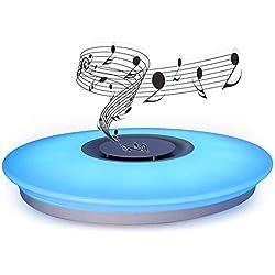 HOREVO Plafón LED Lámpara de Techo con Altavoz Bluetooth, 24W, 1800 Lúa Menes, 6500K Cool Blanco Calido Ajustable + Luz de Colores, APP Mando a Distanci