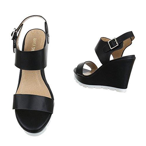 Ital-Design , chaussures compensées femme Schwarz YH2708