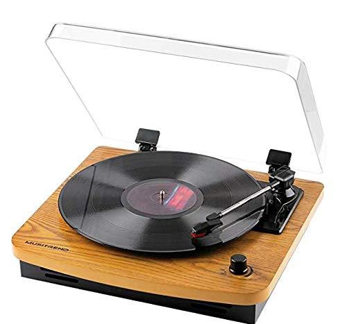 Plattenspieler, MUSITREND Plattenspieler mit DREI Drehzahlen und eingebauten Stereo-Lautsprechern, Vinyl-zu-MP3-Aufnahme im Vintage-Stil, USB, Cinch-Ausgang, echtes Holz - Plattenspieler Holz Vinyl