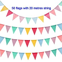 Hotupark 50 Flags Imitated Burlap Pennant Banner with 65.6 Feet String,Multicolor Material Buntings,Fabric Triangle Flag Garland for Outdoor Party Wedding Birthday Decoration