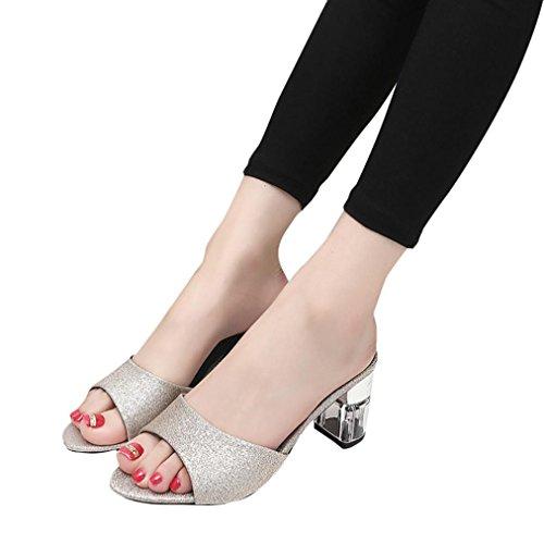 Frauen Dicke Fersen Pailletten Sandalen, Kaiki Frauen Mode hohe Ferse Flipflop Sandelholz Böhmen Schuhe Gold