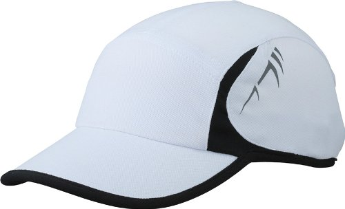 Myrtle Beach Running 4 Panel cap Plain, Unisex, White/Black, Taglia Unica