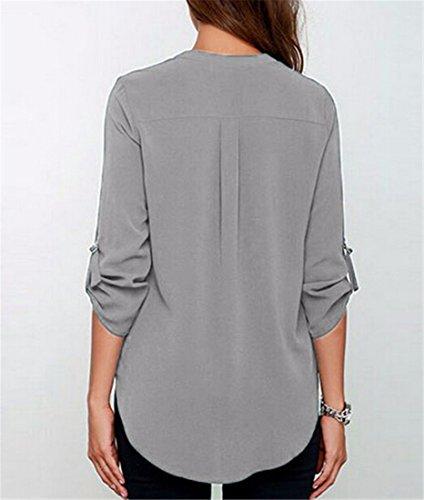 QIYUN.Z Ete Nouvelles Femmes En Mousseline De Soie Col V Profond, Plus La Taille T-Shirt Blouse Mince Tops Chemises Gris
