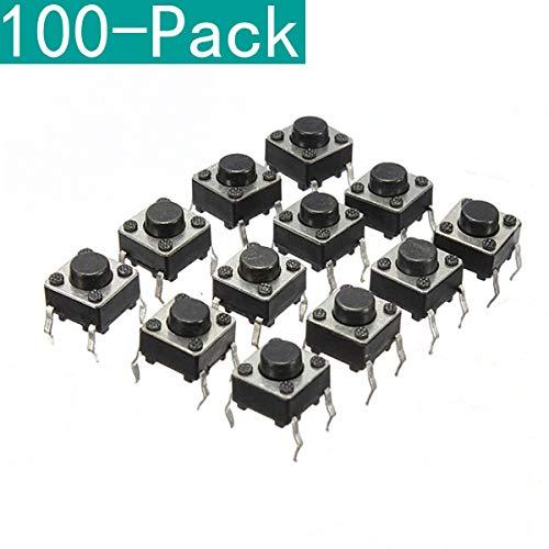 Youmile 100er-Pack 6x6x6 mm Miniatur-Mikro-Taster-Tastschalter Qualitätsschalter SPST Miniature/Mini/Micro/Small PCB -
