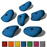ALPIDEX 6 L/XL Klettergriffe im Set verschieden ausgeformte Henkelgriffe in vielen Farben, ergonomische, kantenfreie Oberflächen, Tiefe Hinterschneidungen, mit Verdrehsicherung, Farbe:Balance Blue