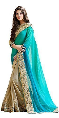 Dheylu Creation Women's Georgette and Lycra Embroidered Saree with Blouse Piece TFS1147_Turquoise...
