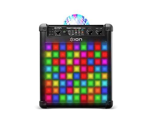 ION Audio Party Rocker Max - Cassa Bluetooth Karaoke Speaker da 100 W con Microfono, Batteria Ricaricabile, Cupola Luminosa e Griglia a Luci LED
