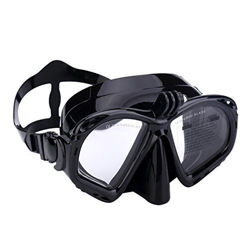 Supertrip Premium Taucherbrille erwachsene Tauchmaske mit kamera halterung dry Schnorcheln Color Schwarz (Kamera-taucherbrille)