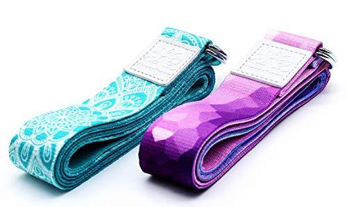NetroxSports® Yoga Gurt | 100% nachhaltiges Material | für eine bessere Dehnung und verstellbarem Ring | für Herren und Damen | 1 Jahr Gewährleistung