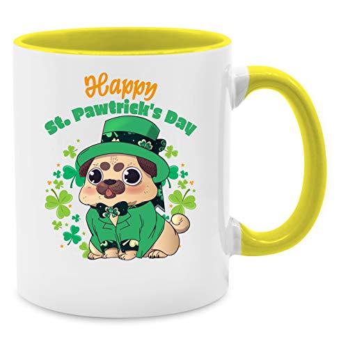 Kostüm Hunde Kobold - Statement Tasse - Happy Str. Pawtrick's Day Tasse - Unisize - Gelb - Q9061 - Kaffee-Tasse inkl. Geschenk-Verpackung