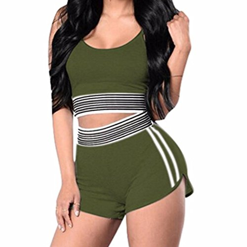 Mounter Womens Sports Spaghetti Strap Crop Tank Top With High Waist Shorts Set 2 PCS Sets Good for ports  Fitness Gym Yoga Running and Workout  Green  Small
