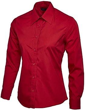 Mujer Popelina Camisa De Manga Larga Blusa Casual Formal Negocios Trabajo Uniforme