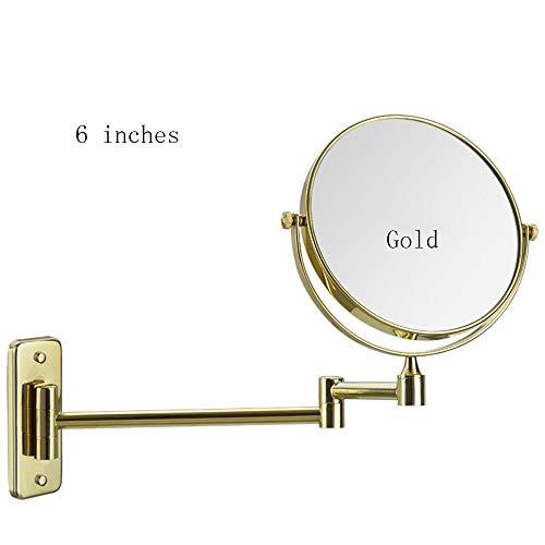 Tragbare Mini Spiegel Großen Doppel-Waschtisch Spiegel Bad Spiegel Badezimmer Wand Europäische Schönheit Außenspiegel Kosmetikspiegel Geeignet Für Schlafzimmer Und Bad (Farbe: Gold, Größe: 6 Zoll) (Außenspiegel Hardware)