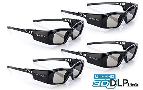 4x Hi-SHOCK DLP Pro 7G Black Diamond | DLP Link 3D Brille für DLP FullHD / UHD 3D Beamer [Shutterbrille | 96-200 Hz | 39g | Akku | DLP Link]