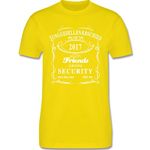 JGA Junggesellenabschied - JGA Groom Security 2017 Lettering - Herren Premium T-Shirt Lemon Gelb