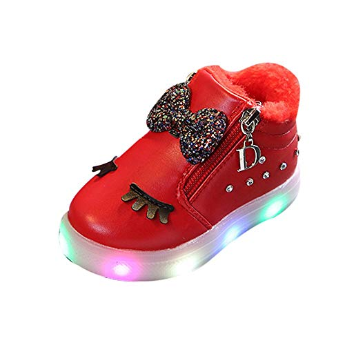 Cinnamou Baby Boots,Unisex Kids Baby Girls Boys Bowknot Crystal Led Light Luminous Boots Winter Warm Toddler Booties Running Sport Boots Shoes
