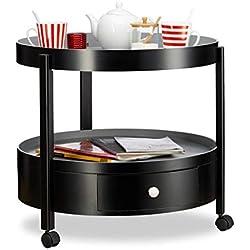 Relaxdays Beistelltisch rund, Schubfach und 2 Ablagen, mobiler Couch- oder Nachttisch, HxØ: 56,5 x 62 cm, schwarz-grau