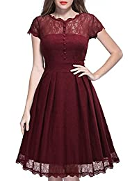 b7fa0abbb2688 MIUSOL Women s Sleeveless Mesh Overlay Lace Swing Party Dress