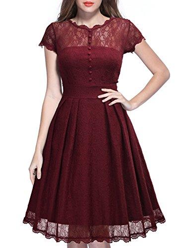 Miusol Damen Elegant Spitzenkleid Cocktailkleid Knielanges Vintage 50er Jahr Abendkleid Weinrot - 3