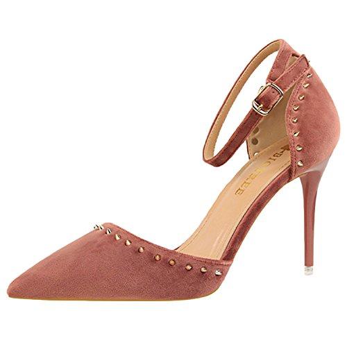 Sapatos Rosa De Dedo De Salto Rebite Das Mulheres Pulseira Bombas Oasap Alto Tornozelo Apontado xYRqqCn