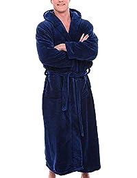 91ba0aec09024a Tonsee Herren Bademäntel mit Kapuzen Saunamantel Weich Morgenmantel  Kuschelfleece Mode Übergröße Lange Saugfähige Robe Fleece…