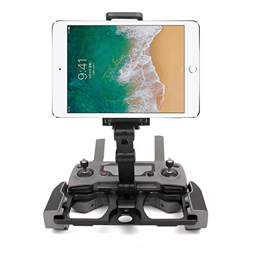 RC GearPro Foldable Aluminum Alloy Remote Control Monitor Holder Phone Tablet Monitor Screen Holder Bracket Mount Clip for DJI Mavic PRO/Mavic AIR/Spark CrystalSky Monitor (Black)