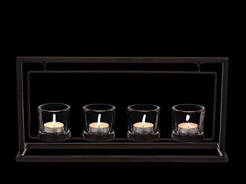 TWC Warenhandel Plus - Garten und mehr XL Glas Teelichthalter Metall Kerzenständer 4 Plätze   Designer Kerzen Halter für 4 Teelichter   40 x 20 cm