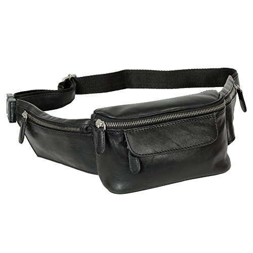 Hochwertige Branco Gürteltasche Bauchtasche Hüfttasche echt Leder schwarz