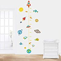 Wall Stickers Solar System Rocket Height Measure Kids Nusery Rooms Outer Space Sky Poster Growth Chart PVC Mural Decor Wall