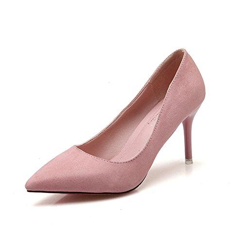 Damen Klassische Pumps Stiletto Weich Nubukleder Spitz Zehen Anti-Rutsch Bequem Arbeitsschuhe Pink