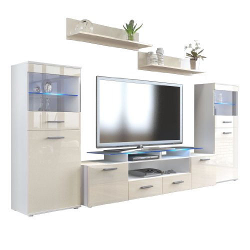 Wohnzimmer Wohnwand Anbauwand Schrankwand Almada V2, Korpus In Weiß Matt /  Front In Creme Hochglanz