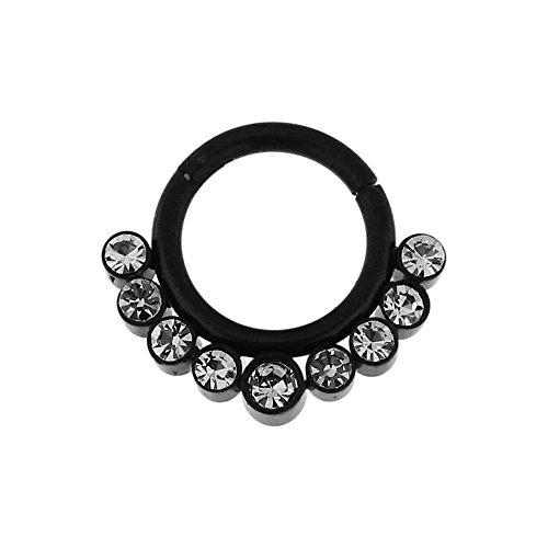16 Gauge - 7 mm Durchmesser Schwarz eloxiert Chirurgenstahl 9 Kristallsteinen gepflastert klappbar Segment Septum Nase Piercing Ring