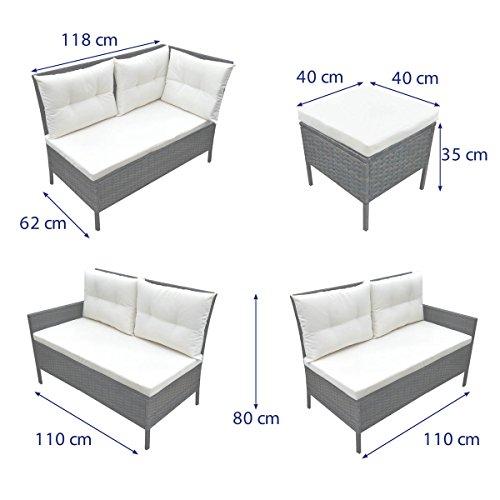 ... SVITA Poly Rattan Ecksofa Rattan Lounge Esstisch Gartenmöbel Set Sofa  Garnitur Couch Eck ...