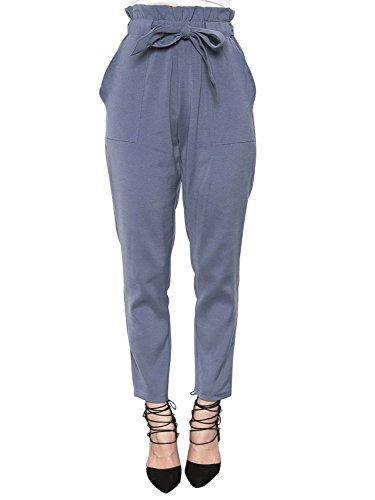 Simplee Apparel Simplee Apparel Damen Hosen Elegant High Waist Stretch Chiffon Skinny Hosen Pants Casual Streetwear Hosen mit Tunnelzug- Gr. 34 / S, Blau