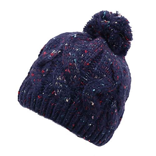 Kabel Stricken Baumwolle Hut (MKHDD Frauen Stricken Hüte Erwachsene Chunky Zopf Strickmütze Garn Pompon Verdickung Warme Freizeit Beanies Caps,B)