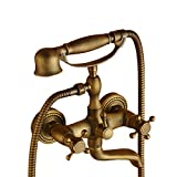 Badewanne Wasserhähne Wandhalterung Badewannenarmatur mit Hand Stil Dusche, Badewanne Messing Wasserhahn Messing antik