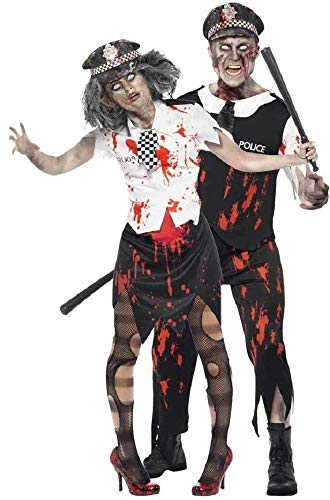 Fancy Me Herren & Damen Paar Kostüm Toter Zombie Polizei WPC Polizist Polizistin Gesetz Vollzug Notfall servives Halloween Kostüme Party Outfits - Schwarz, Ladies UK 12-14 & Mens ()