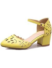 CXQ-Talons QIN&X Bloc de Femmes Peu Profondes Bouche Tête Carrée Verte,Chaussures,35