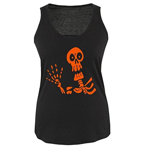 HALLOWEEN SKELETT - Damen Tank Top Schwarz / Orange Gr. (Halloween Und Bonnie Clyde)