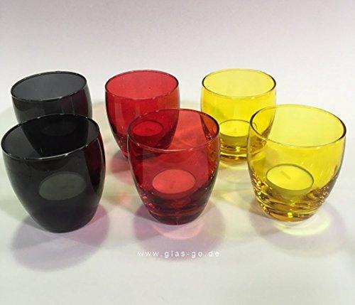 Prime-Versand: Deutschland Tischlicht aus Glas, SCHWARZ ROT GOLD, Kerzenhalter, Windlicht, Tischdeko, Dekoration, Laterne, Teelicht, 6er Set, Farbe, farbig, bunt