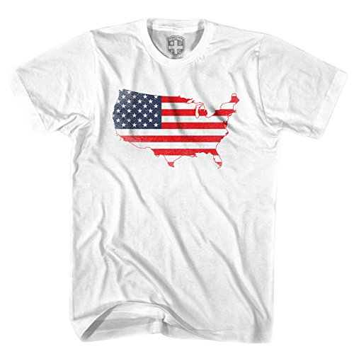 USA AMERICAN FLAG Continental T-Shirt Gr. M, Weiß - Weiß (Adult Flag T-shirt)