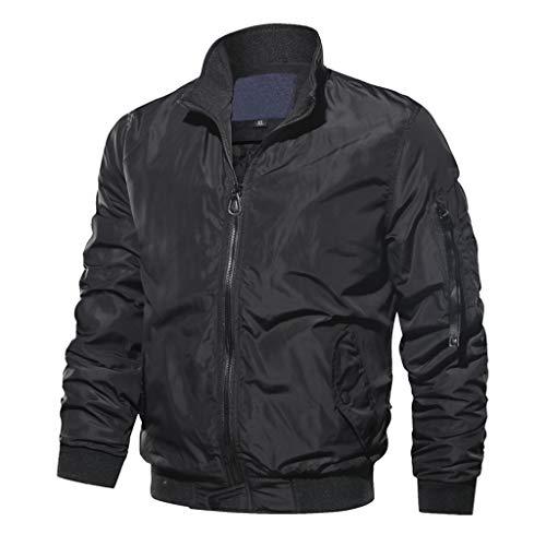 LIMITA Herren Bomberjacke Herbst Winter Casual Outwear Stehkragen Baseball Jacke Motorradjacke Reine Farbe Reißverschluss Jacke Atmungsaktiver Jackenmantel