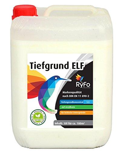 Preisvergleich Produktbild RyFo Colors Tiefgrund ELF 10l - hochwertige Spezialgrundierung in Maler- und Handwerkerqualität, Tiefgrundkonzentrat für innen und außen, Tiefengrund, Haftgrund, Grundierung, E.L.F., lösemittelfrei, emissionsam, geruchsarm, zertifiziert