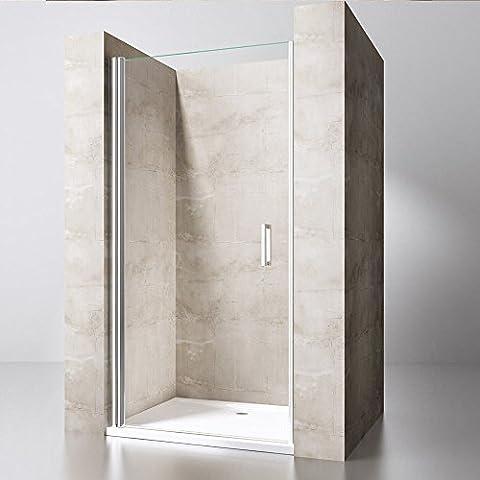 Pivot Hinged Shower Door Walk-in Screen Enclosure Reversible Glass Single Double (1000mm x 900mm Stone Shower Tray, 1000mm x 1900mm Single Glass